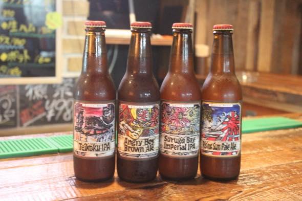 ベアードビール 左から  ①帝国IPA ②アングリーボーイ ブラウンエール  ③スルガベイ インペリアルIPA  ④ライジングサン ペールエール